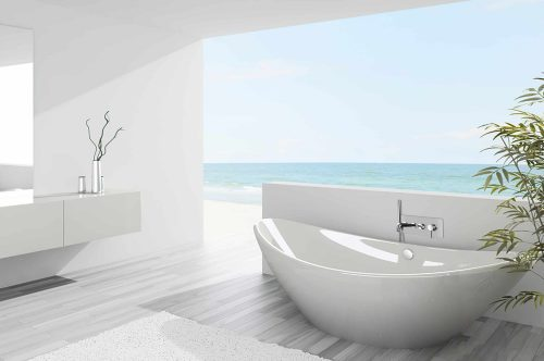 robinet de bain mural chrome