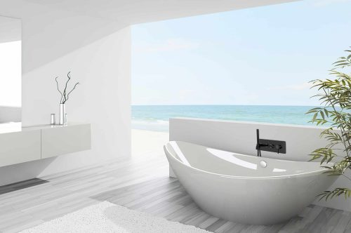 robinet de bain mural noir