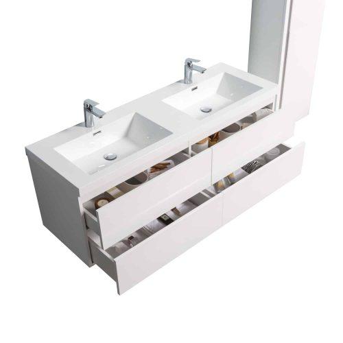 vanité de salle de bain vue de haut